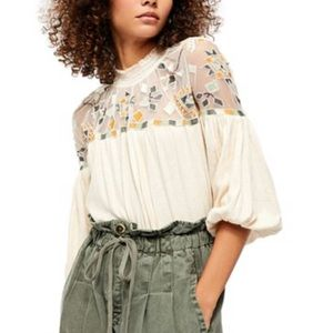 FreePeople Embroidered Mesh Cotton Linen Blend Top